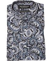 Nick Graham - Midnight Paisley Print Stretch Shirt