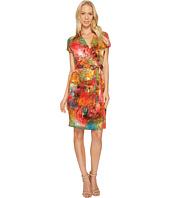 Ellen Tracy - Short Sleeve Faux Wrap Multicolor Dress