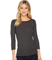 Three Dots - Tahoe Stripe 3/4 Sleeve British Tee