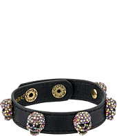 Betsey Johnson - Pink and Gold Black Leather Bracelet
