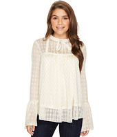 ROMEO & JULIET COUTURE - Long Sleeve Sheer Lace Top