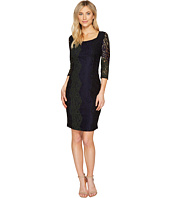 Sangria - 3/4 Sleeve Tri Color Stretch Lace Sheath Dress