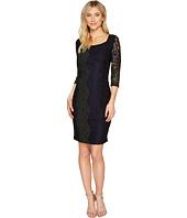 Sangria - 3/4 Sleeve Tri Color Stretch Lace Sheath Dress