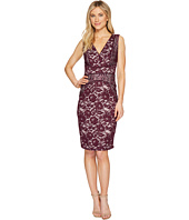 Sangria - V-Neck Lace Piping Detail Sheath Dress