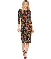 Sangria - Long Sleeve Printed Midi Sheath Dress
