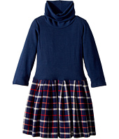 fiveloaves twofish - Little Knit Flannel Dress Navy Plaid (Big Kids)
