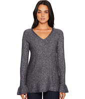 Michael Stars - Soft V-Neck Pullover with Ruffle Sleeve