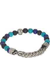 Steve Madden - Stainless Steel Lapis Bead Curb Chain Bracelet