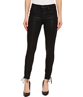 Hudson - Stevie Mid-Rise Continuous Lace-Up Super Skinny in Black Coated