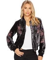 J.O.A. - Embroidered Velvet Bomber Jacket