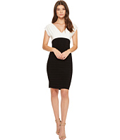 Adrianna Papell - Banded V-Neck Sheath Dress