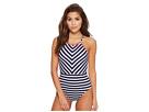 Breton Stripe High-Neck One-Piece Swimsuit