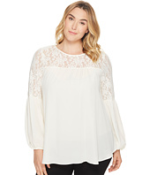 London Times - Plus Size Georgette Lace Lantern Sleeve