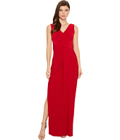 Adrianna Papell - V-Neck Dreaped Jersey Gown