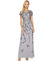 Adrianna Papell - Short Sleeve Fully Beaded Gown with Illusion Neckline