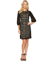 Adrianna Papell - Flocked Lurex Lace Mixed Media Long Sleeve Sheath