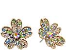 Multicolored Stone Flower Stud Earrings