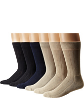 Ecco Socks - Solid Color Rib Cushion Socks 6 Pack